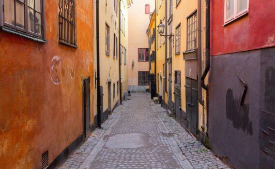 ストックホルムの旧市街の路地裏 スウェーデンの風景