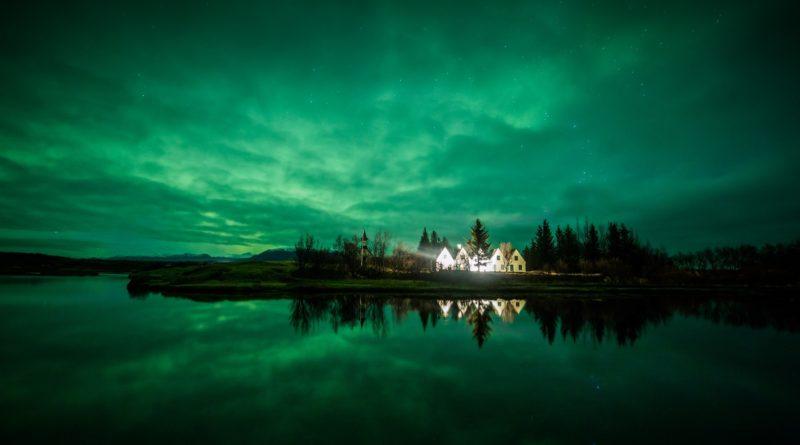 アイスランドの夜の風景