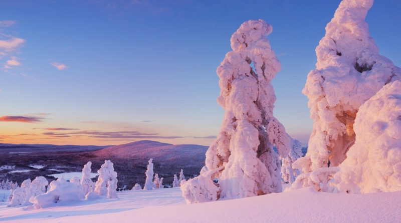 冬の夕暮れのラップランドの風景 フィンランドの冬の風景