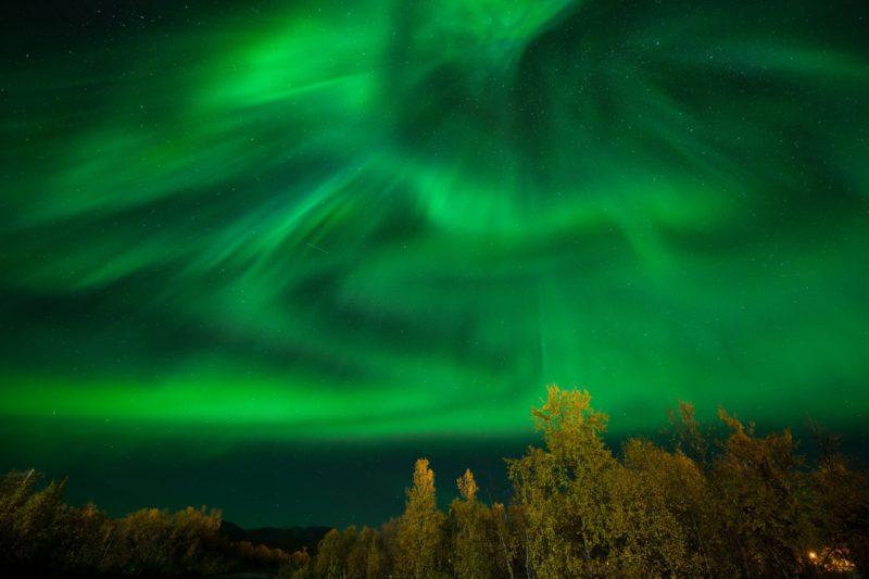 スウェーデン アビスコのオーロラの風景