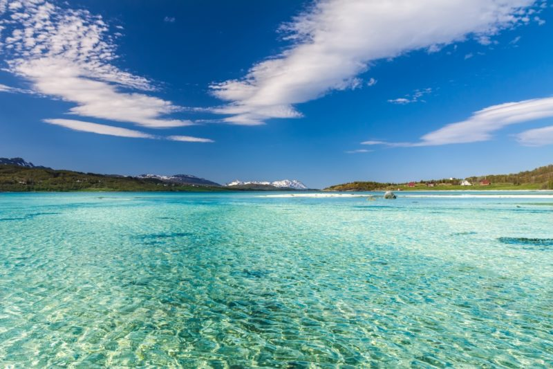 ロフォーテン諸島の夏の美しい砂浜の風景