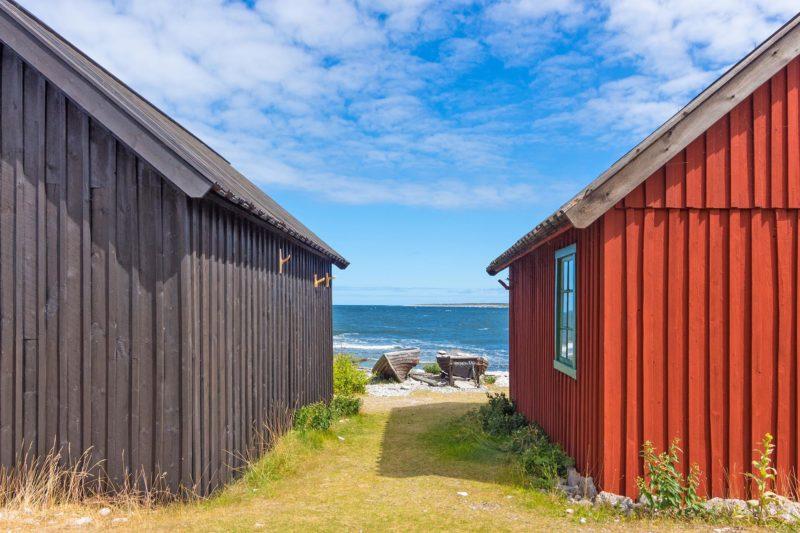 木造の古い漁師小屋 スウェーデン ファロ島