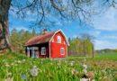 花と赤い小屋のある風景 スウェーデンの風景